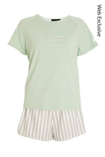 Green Stripe Short Pyjama Set